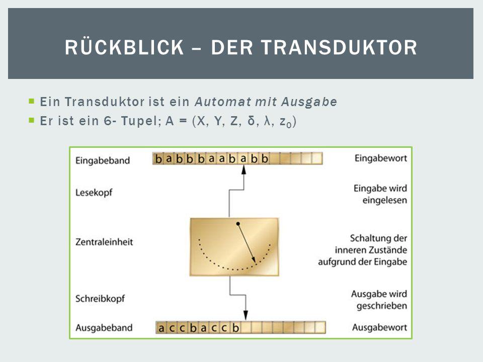 Ein Transduktor ist ein Automat mit Ausgabe Er ist ein 6- Tupel; A = (X, Y, Z, δ, λ, z 0 ) RÜCKBLICK – DER TRANSDUKTOR