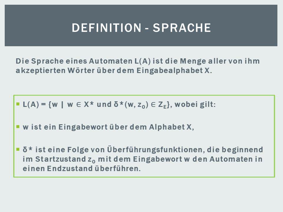 Die Sprache eines Automaten L(A) ist die Menge aller von ihm akzeptierten Wörter über dem Eingabealphabet X. L(A) = {w | w X* und δ*(w, z 0 ) Z E }, w