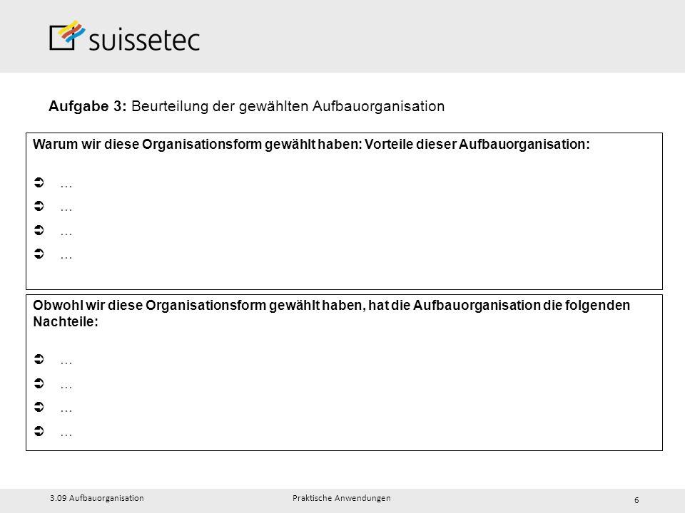Aufgabe 3: Beurteilung der gewählten Aufbauorganisation 3.09 Aufbauorganisation Praktische Anwendungen 6 Warum wir diese Organisationsform gewählt hab