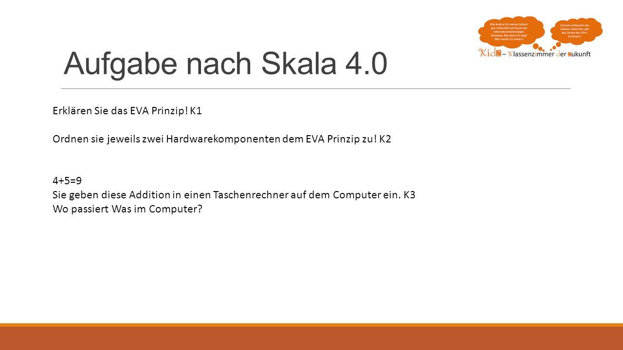 Aufgabe nach Skala 4.0 Erklären Sie das EVA Prinzip! K1 Ordnen sie jeweils zwei Hardwarekomponenten dem EVA Prinzip zu! K2 4+5=9 Sie geben diese Addit