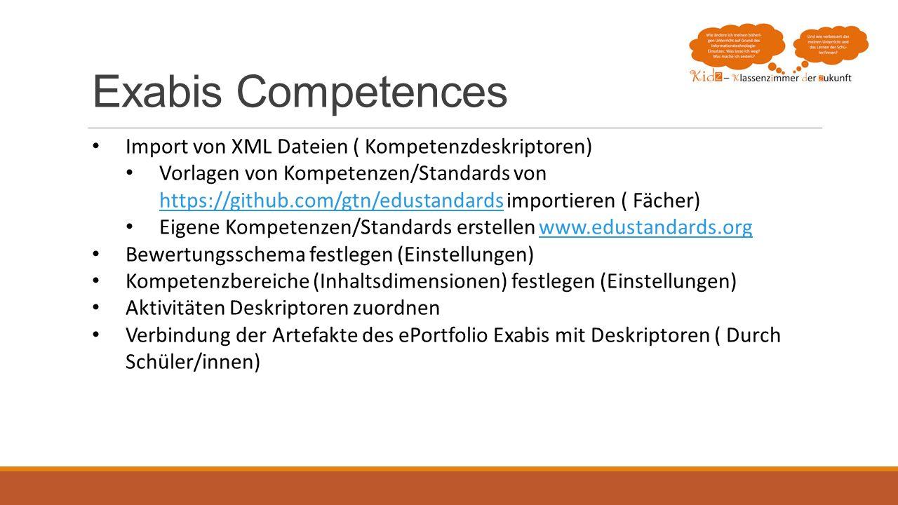 Exabis Competences Import von XML Dateien ( Kompetenzdeskriptoren) Vorlagen von Kompetenzen/Standards von https://github.com/gtn/edustandards importie