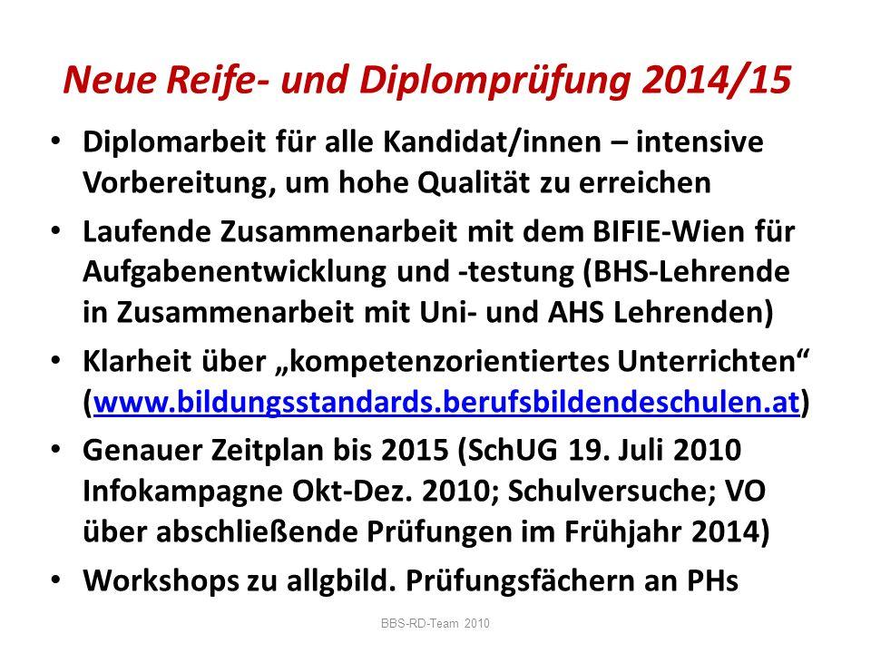 Neue Reife- und Diplomprüfung 2014/15 Diplomarbeit für alle Kandidat/innen – intensive Vorbereitung, um hohe Qualität zu erreichen Laufende Zusammenar
