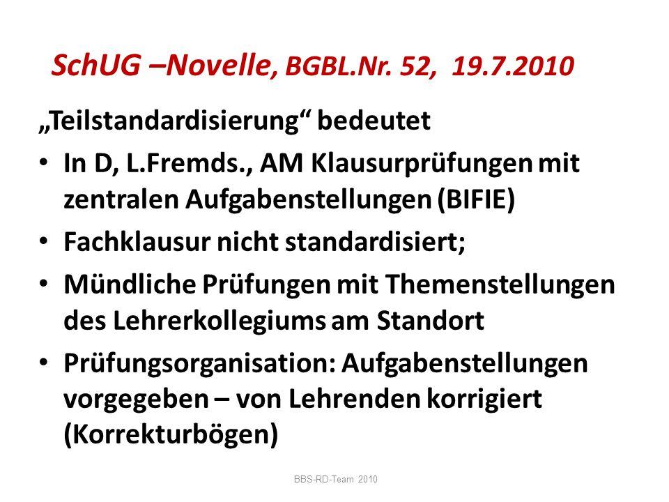 SchUG –Novelle, BGBL.Nr. 52, 19.7.2010 Teilstandardisierung bedeutet In D, L.Fremds., AM Klausurprüfungen mit zentralen Aufgabenstellungen (BIFIE) Fac