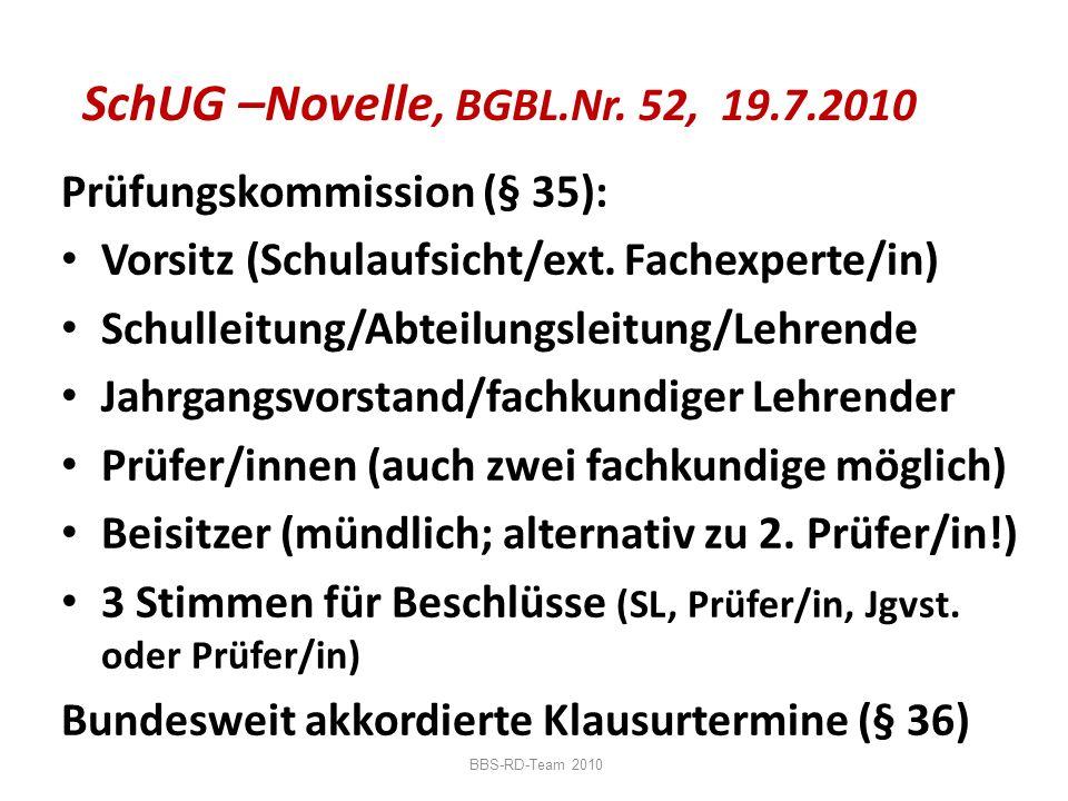 SchUG –Novelle, BGBL.Nr. 52, 19.7.2010 Prüfungskommission (§ 35): Vorsitz (Schulaufsicht/ext. Fachexperte/in) Schulleitung/Abteilungsleitung/Lehrende