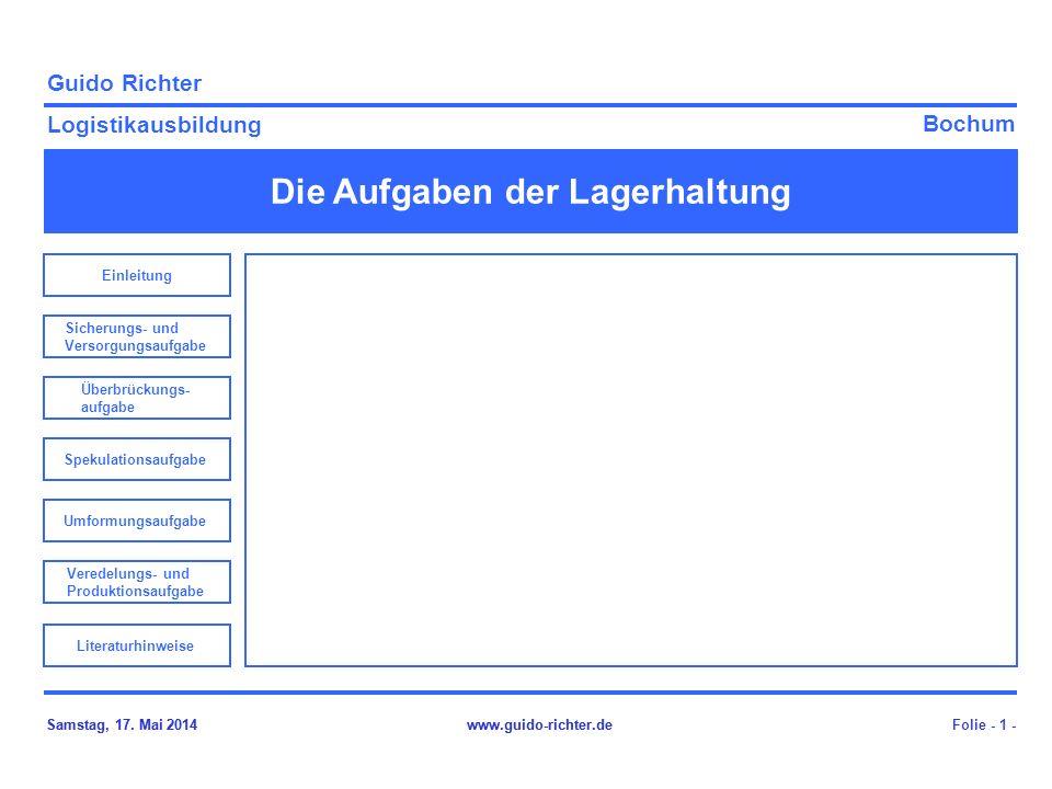 Bochum Guido Richter Logistikausbildung Samstag, 17. Mai 2014www.guido-richter.de Die Aufgaben der Lagerhaltung Folie - 1 -Samstag, 17. Mai 2014www.gu