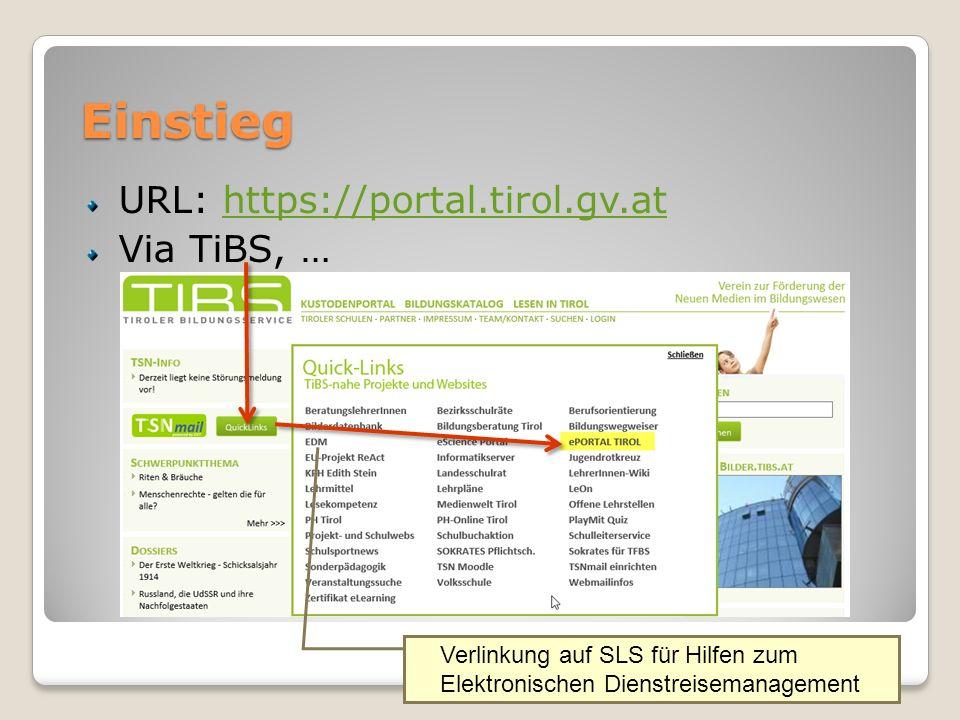 Einstieg URL: https://portal.tirol.gv.athttps://portal.tirol.gv.at Via TiBS, … Verlinkung auf SLS für Hilfen zum Elektronischen Dienstreisemanagement