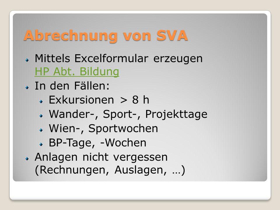 Abrechnung von SVA Mittels Excelformular erzeugen HP Abt.