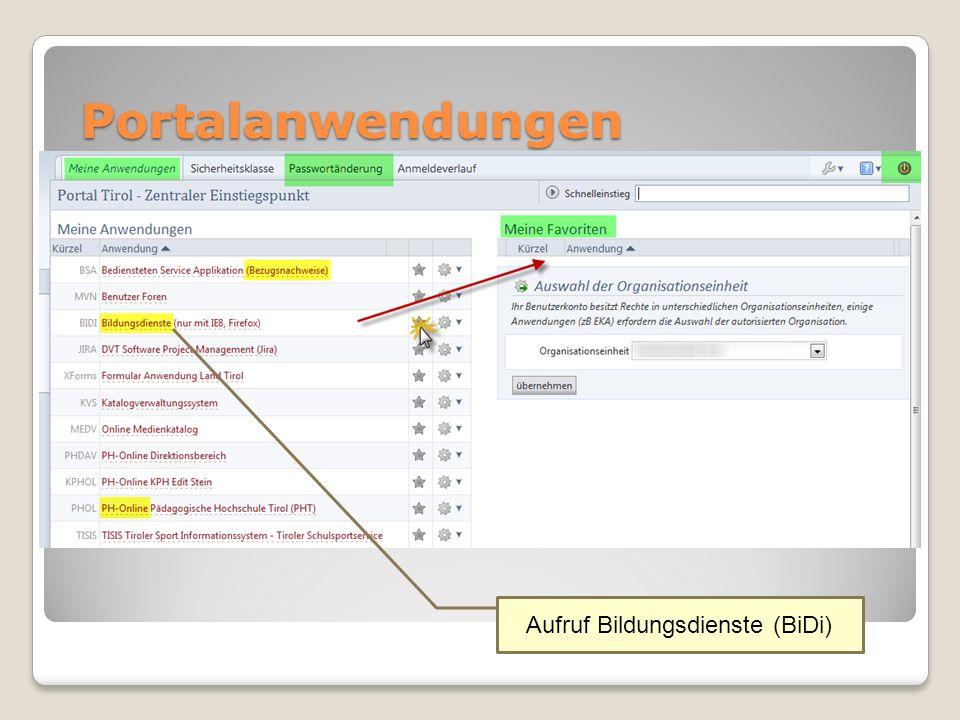 Portalanwendungen Aufruf Bildungsdienste (BiDi)
