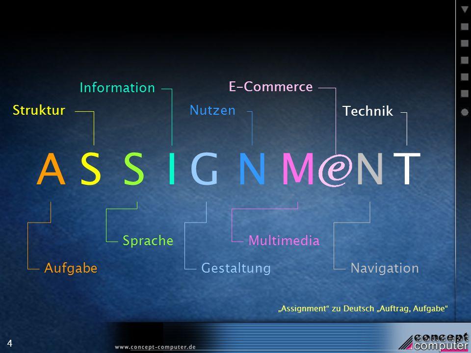4 SASIGN Aufgabe Struktur Sprache Information Gestaltung Nutzen Assignment zu Deutsch Auftrag, Aufgabe MNT Multimedia E-Commerce Technik Navigation