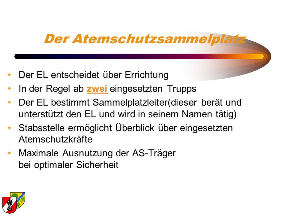 Der Atemschutzsammelplatz Der EL entscheidet über Errichtung In der Regel ab zwei eingesetzten Trupps Der EL bestimmt Sammelplatzleiter(dieser berät u