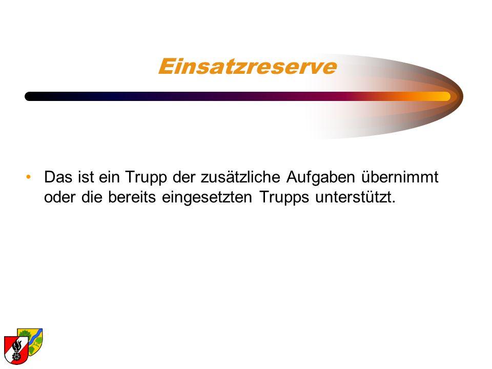 Einsatzreserve Das ist ein Trupp der zusätzliche Aufgaben übernimmt oder die bereits eingesetzten Trupps unterstützt.