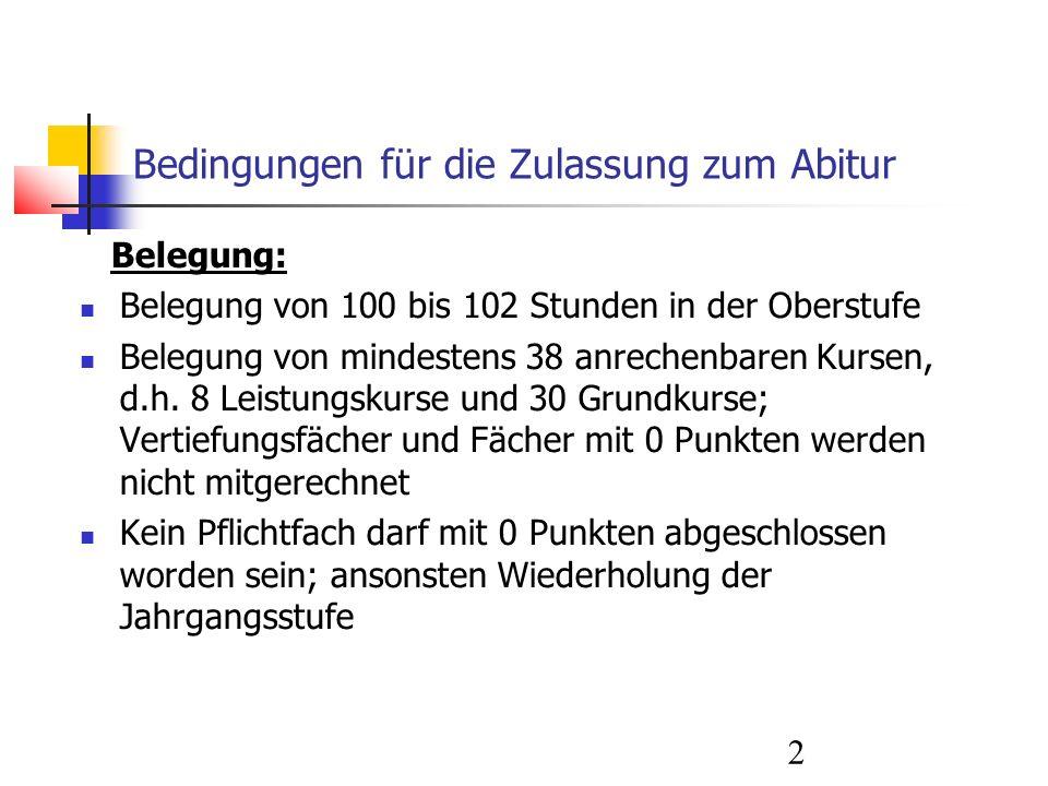 2 Bedingungen für die Zulassung zum Abitur Belegung: Belegung von 100 bis 102 Stunden in der Oberstufe Belegung von mindestens 38 anrechenbaren Kursen, d.h.