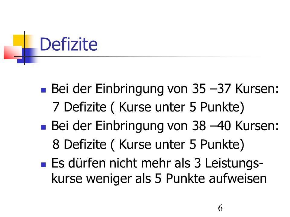 7 Berechnung Die 8 Leistungskurse werden zweifach gewertet.