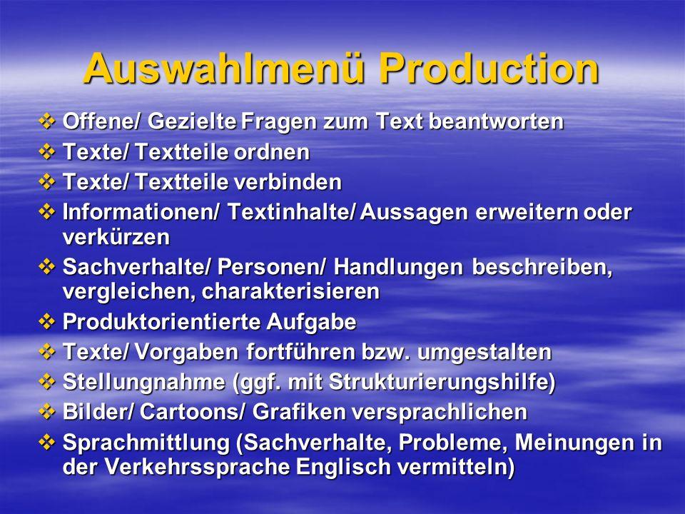 Auswahlmenü Production Offene/ Gezielte Fragen zum Text beantworten Offene/ Gezielte Fragen zum Text beantworten Texte/ Textteile ordnen Texte/ Textte