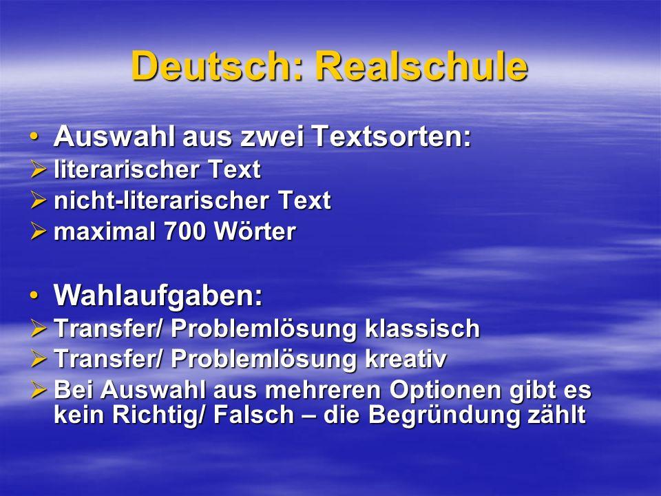 Deutsch: Realschule Auswahl aus zwei Textsorten:Auswahl aus zwei Textsorten: literarischer Text literarischer Text nicht-literarischer Text nicht-lite