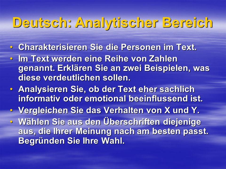 Deutsch: Analytischer Bereich Charakterisieren Sie die Personen im Text.Charakterisieren Sie die Personen im Text. Im Text werden eine Reihe von Zahle