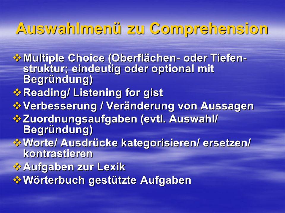 Auswahlmenü zu Comprehension Multiple Choice (Oberflächen- oder Tiefen- struktur; eindeutig oder optional mit Begründung) Multiple Choice (Oberflächen
