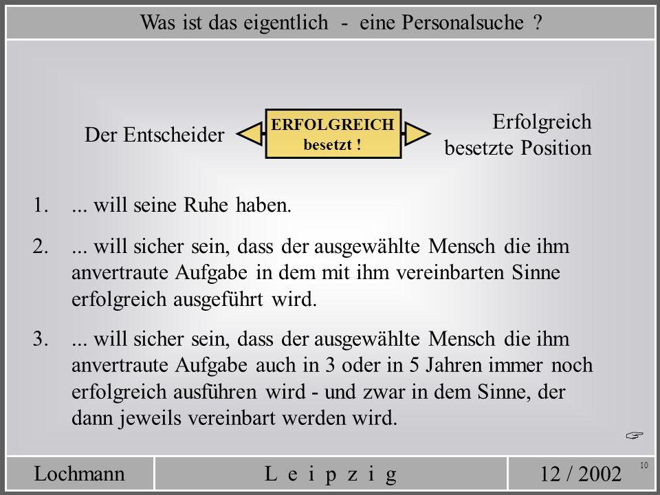 12 / 2002 L e i p z i gLochmann 10 Was ist das eigentlich - eine Personalsuche ? Erfolgreich besetzte Position Der Entscheider ERFOLGREICH besetzt ! 1