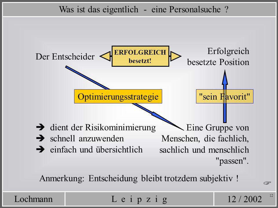 12 / 2002 L e i p z i gLochmann 12 Was ist das eigentlich - eine Personalsuche ? Erfolgreich besetzte Position Der Entscheider ERFOLGREICH besetzt! Ei