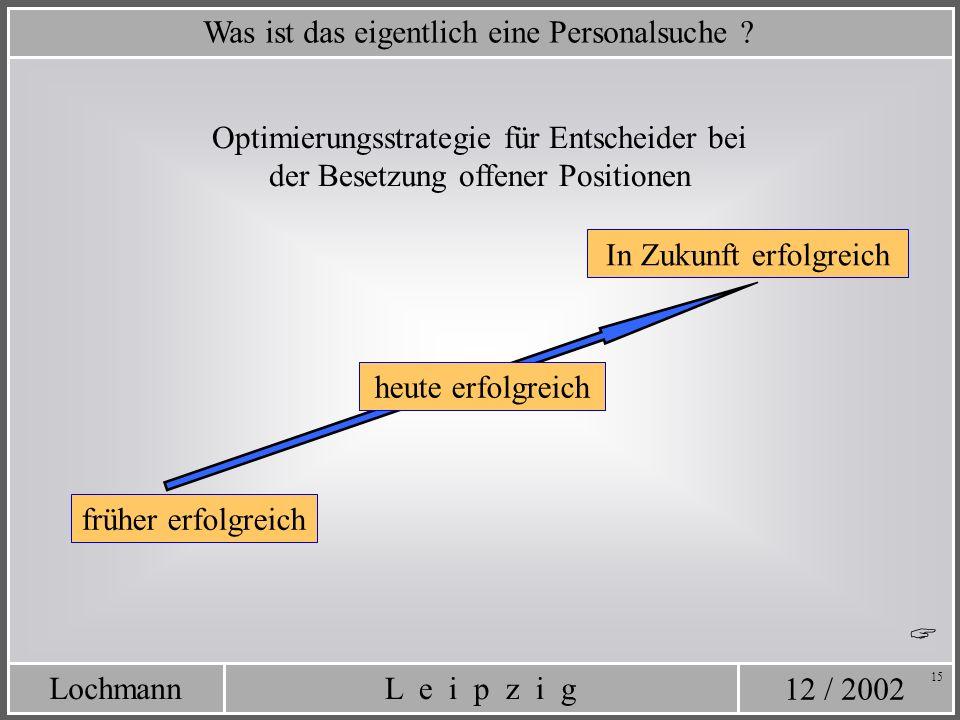 12 / 2002 L e i p z i gLochmann 15 heute erfolgreich Was ist das eigentlich eine Personalsuche ? Optimierungsstrategie für Entscheider bei der Besetzu