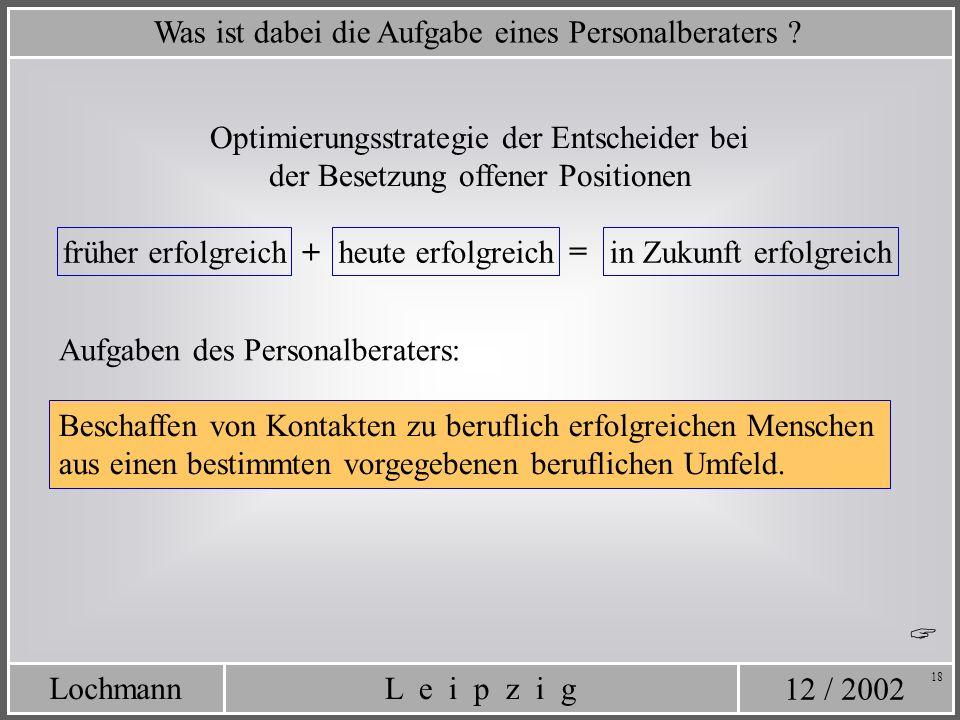 12 / 2002 L e i p z i gLochmann 18 Was ist dabei die Aufgabe eines Personalberaters ? Optimierungsstrategie der Entscheider bei der Besetzung offener