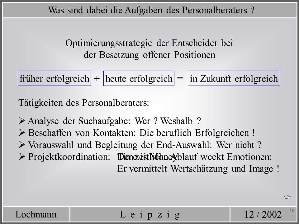 12 / 2002 L e i p z i gLochmann 19 Was sind dabei die Aufgaben des Personalberaters ? Optimierungsstrategie der Entscheider bei der Besetzung offener