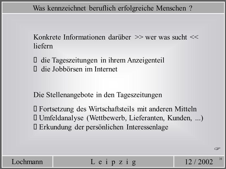 12 / 2002 L e i p z i gLochmann 36 Was kennzeichnet beruflich erfolgreiche Menschen ? Konkrete Informationen darüber >> wer was sucht << liefern die T
