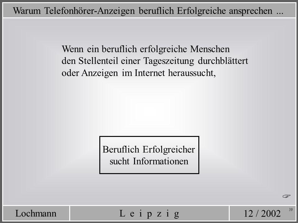12 / 2002 L e i p z i gLochmann 39 Warum Telefonhörer-Anzeigen beruflich Erfolgreiche ansprechen... Wenn ein beruflich erfolgreiche Menschen den Stell