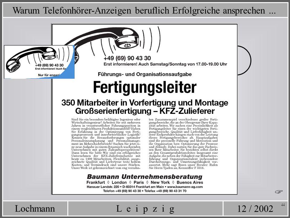 12 / 2002 L e i p z i gLochmann 44 Warum Telefonhörer-Anzeigen beruflich Erfolgreiche ansprechen...