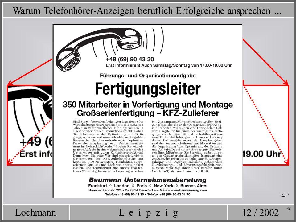 12 / 2002 L e i p z i gLochmann 46 Warum Telefonhörer-Anzeigen beruflich Erfolgreiche ansprechen...