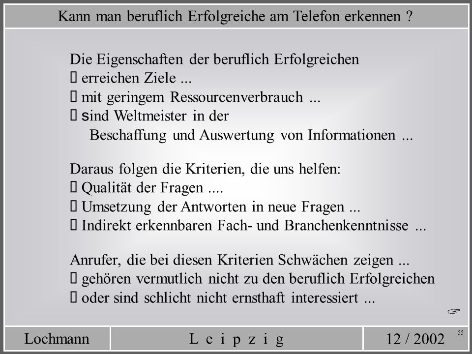 12 / 2002 L e i p z i gLochmann 55 Die Eigenschaften der beruflich Erfolgreichen erreichen Ziele... mit geringem Ressourcenverbrauch... s ind Weltmeis
