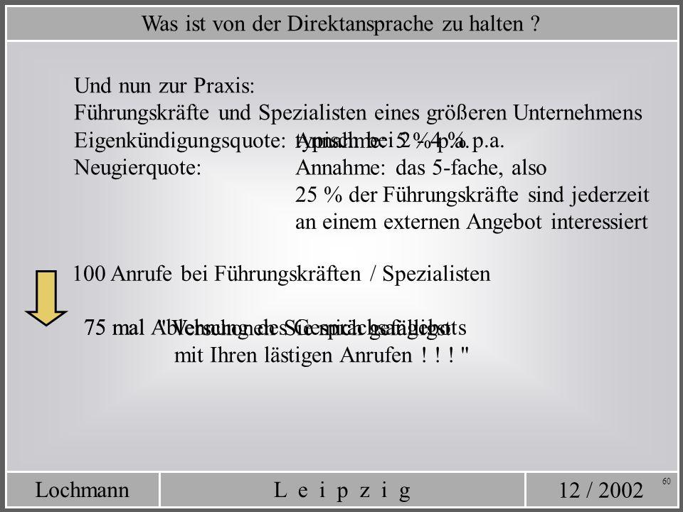 12 / 2002 L e i p z i gLochmann 60 Was ist von der Direktansprache zu halten ? Und nun zur Praxis: Eigenkündigungsquote: Führungskräfte und Spezialist