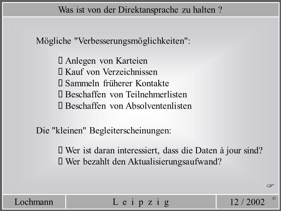 12 / 2002 L e i p z i gLochmann 63 Was ist von der Direktansprache zu halten ? Mögliche