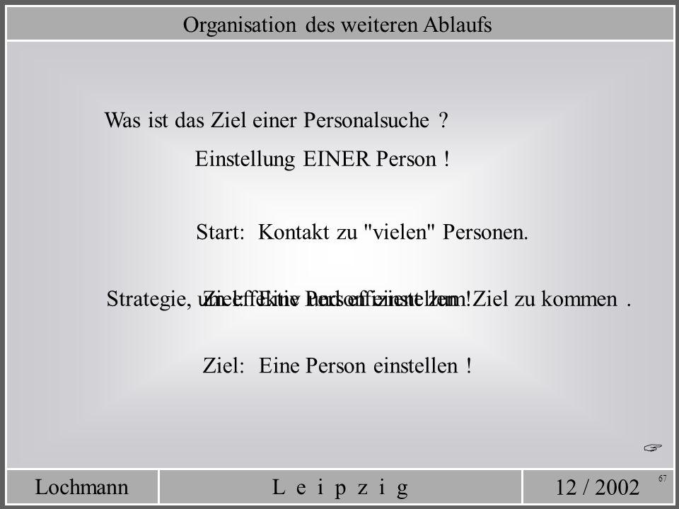 12 / 2002 L e i p z i gLochmann 67 Organisation des weiteren Ablaufs Strategie, um effektiv und effizient zum Ziel zu kommen. Kontakt zu