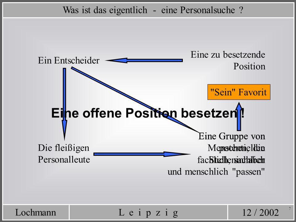 12 / 2002 L e i p z i gLochmann 7 Was ist das eigentlich - eine Personalsuche ? Eine zu besetzende Position Ein Entscheider Eine Gruppe von potentiell