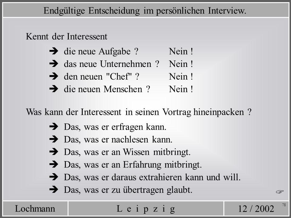 12 / 2002 L e i p z i gLochmann 78 Endgültige Entscheidung im persönlichen Interview. Kennt der Interessent Was kann der Interessent in seinen Vortrag