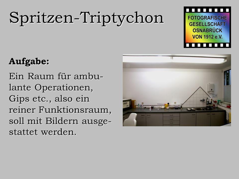 Spritzen-Triptychon Vorüberlegung: Der Raum hat eine breite Wand, es bieten sich drei Bilder von 50x75 cm im Abstand von 10 cm an.