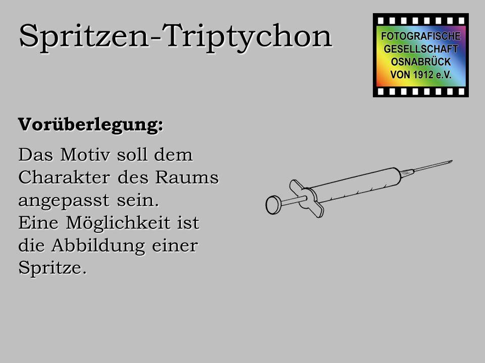 Spritzen-Triptychon Ausführung: Eine Spritze wird in drei Abschnitten vor schwarzem Hinter- grund fotografiert: 100 mm Makro, f 32, 1/60 Sek, integrierter Blitz, ISO 100, 5184x3456 Px