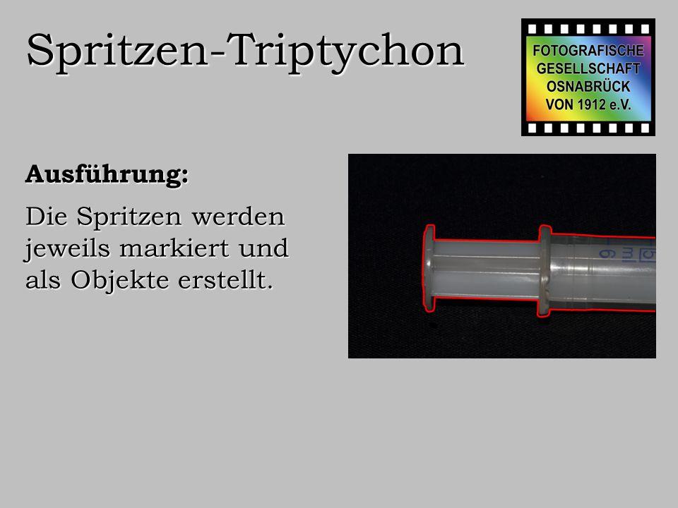 Spritzen-Triptychon Ausführung: Diese Objekte werden in ein neues Bild gestellt.