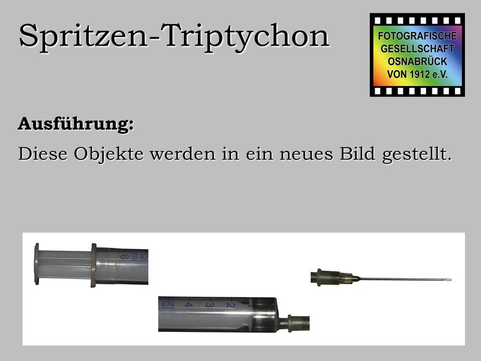 Spritzen-Triptychon Ausführung: Die Teile werden zusammengeführt, der Hinter- grund in reinem Schwarz gefärbt.