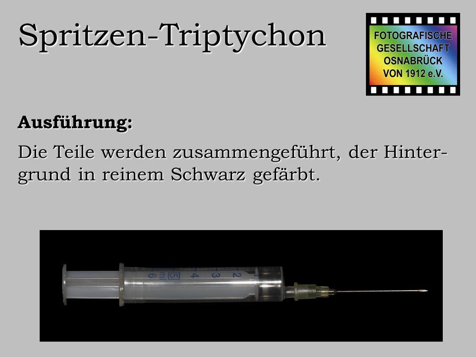Spritzen-Triptychon Ausführung: Bild auf 150x75 cm formatieren, Spritze neigen, Bild invertieren.