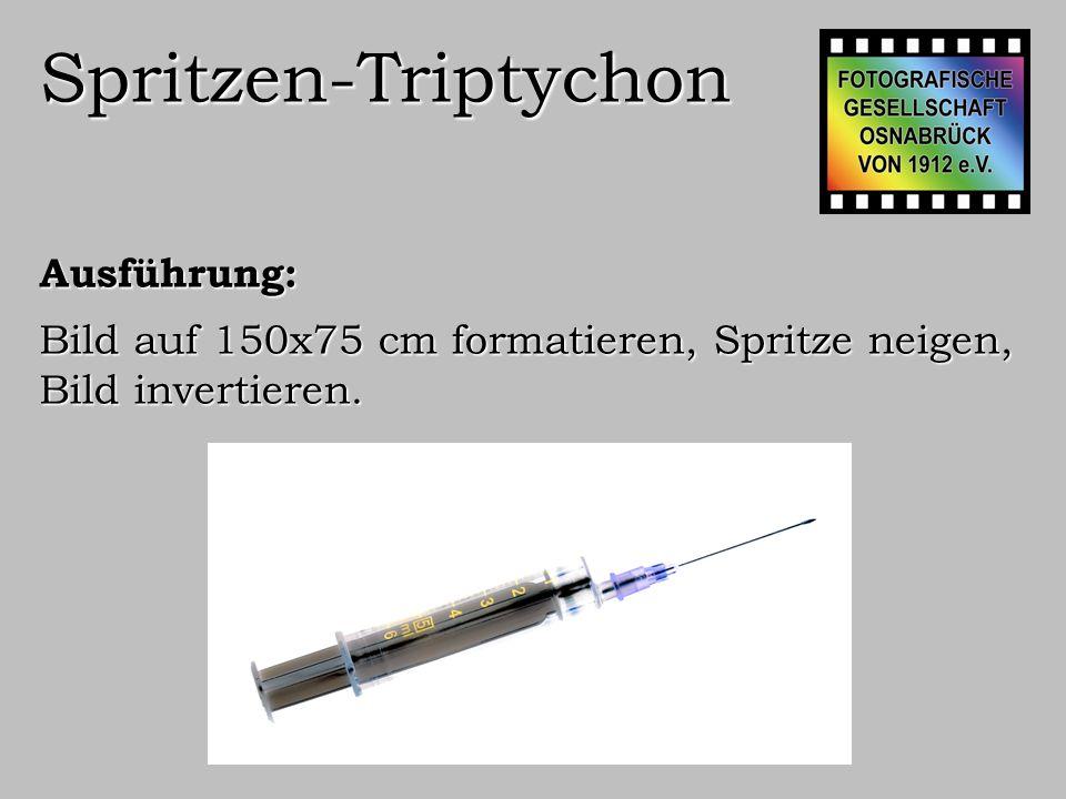Spritzen-Triptychon Ausführung: In drei Bilder 50x75 cm aufteilen.