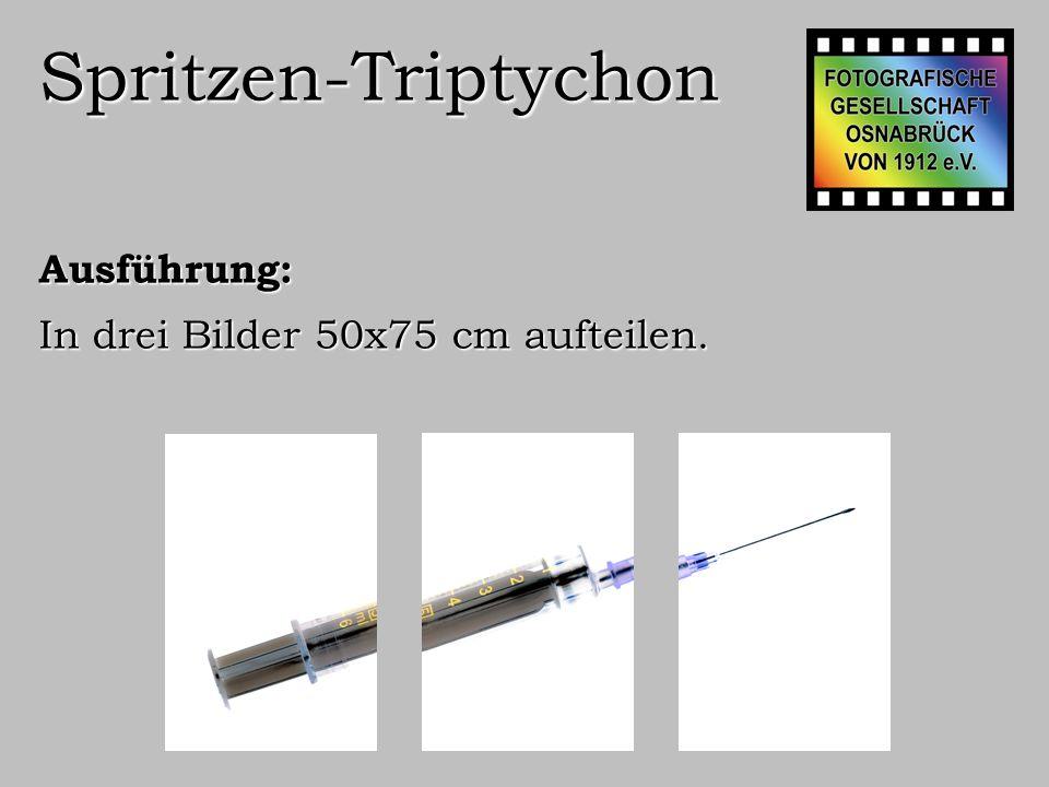 Spritzen-Triptychon Ausführung: Die drei Bilder in neuem Bild vereinigen von 170(=50+10+50+10+50)x75 cm.