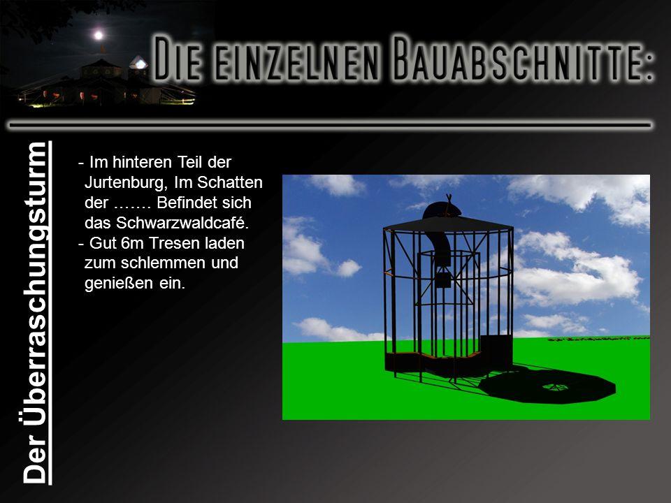 Der Überraschungsturm - Im hinteren Teil der Jurtenburg, Im Schatten der ……. Befindet sich das Schwarzwaldcafé. - Gut 6m Tresen laden zum schlemmen un