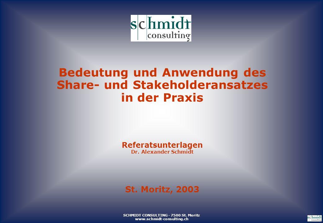 SCHMIDT CONSULTING - 7500 St. Moritz www.schmidt-consulting.ch Bedeutung und Anwendung des Share- und Stakeholderansatzes in der Praxis Referatsunterl