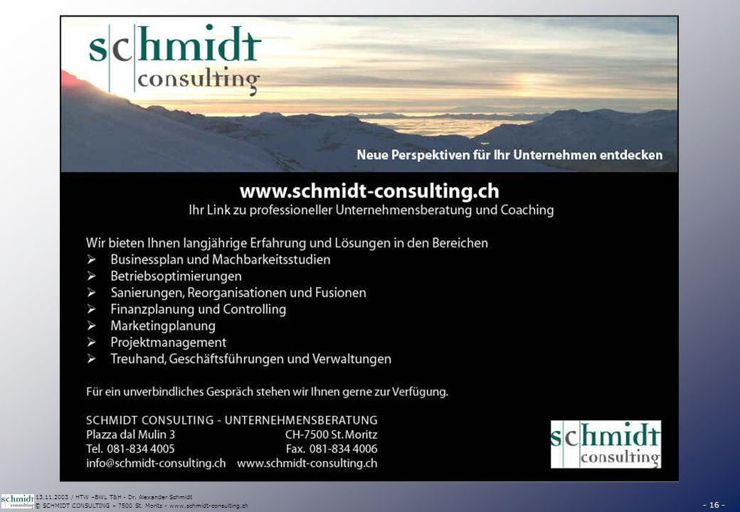 - 16 - © SCHMIDT CONSULTING – 7500 St. Moritz - www.schmidt-consulting.ch 13.11.2003 / HTW –BWL T&H - Dr. Alexander Schmidt