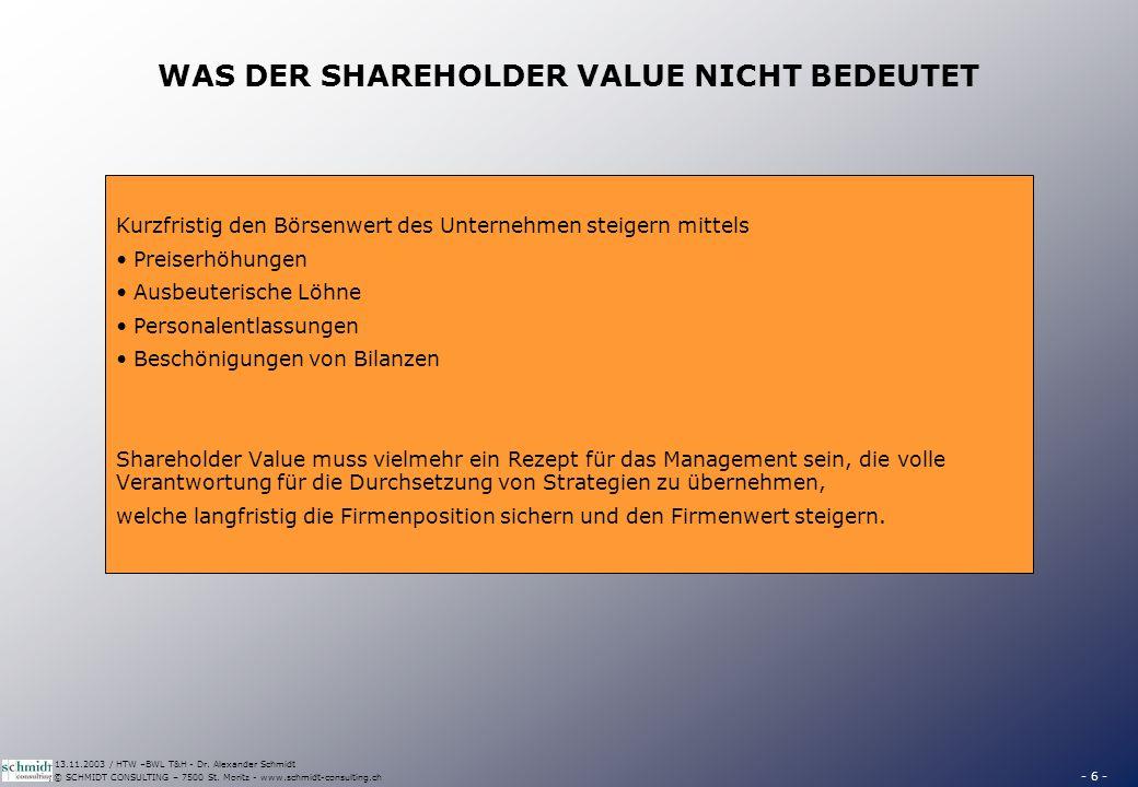 - 6 - © SCHMIDT CONSULTING – 7500 St. Moritz - www.schmidt-consulting.ch 13.11.2003 / HTW –BWL T&H - Dr. Alexander Schmidt WAS DER SHAREHOLDER VALUE N