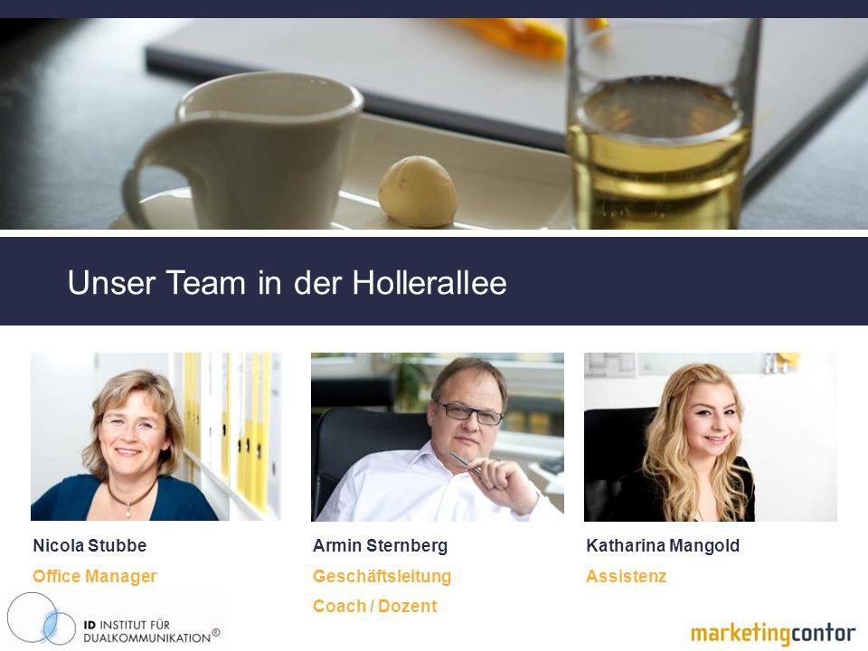Unser Team in der Hollerallee Nicola Stubbe Office Manager Armin Sternberg Geschäftsleitung Coach / Dozent Katharina Mangold Assistenz