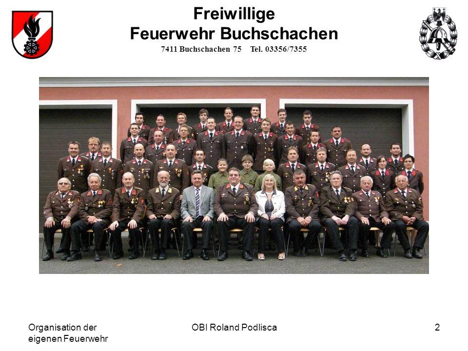 Organisation der eigenen Feuerwehr OBI Roland Podlisca3 Freiwillige Feuerwehr Buchschachen 7411 Buchschachen 75 Tel.