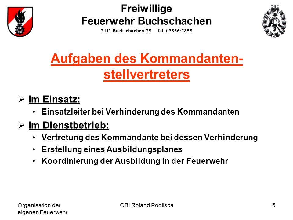 Organisation der eigenen Feuerwehr OBI Roland Podlisca6 Freiwillige Feuerwehr Buchschachen 7411 Buchschachen 75 Tel. 03356/7355 Aufgaben des Kommandan